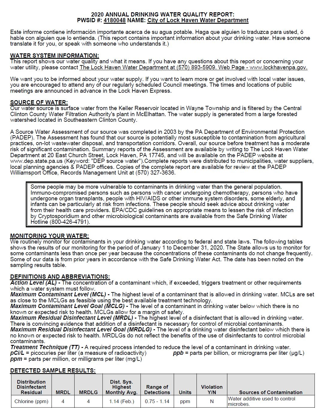 2020 Annual Drinking Water Quality Report Page 1